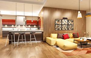 Фотография Интерьер Дизайн Кухня Стол Диван Лампы Гостевая 3D Графика