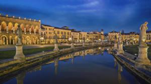 Фотографии Италия Здания Скульптуры Вечер Пруд Улица Padua Города