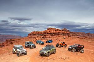 Обои Jeep Много Машины