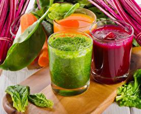Картинка Сок Овощи Стакан Трое 3 Пища