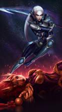Картинки League of Legends Воители 2 Diana, Leona Девушки Фэнтези