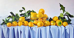 Фотография Лимоны Много Листва Пища