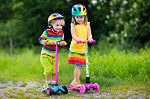 Фото Девочки Мальчики 2 Шлем Разноцветные Дети