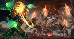 Картинки Магия Демоны Сражения Heroes of the Storm moba, Azmodan, Kael'thas Игры Фэнтези