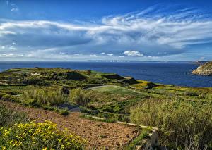 Фото Мальта Берег Небо Море Кусты Bahrija