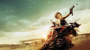 Картинки Milla Jovovich Обитель зла Обитель зла 6: Последняя глава Знаменитости Девушки Мотоциклы