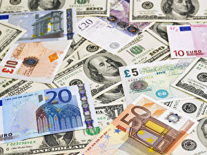 Обои Деньги Банкноты Доллары Евро