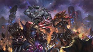 Фотография Монстры Heroes of the Storm Sonya, Wandering Barbarian, Sylvanas, Stitches Игры Девушки