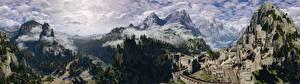 Картинка Горы Пейзаж The Witcher 3: Wild Hunt Леса Замки Крепость Туман Kaer Morhen Игры