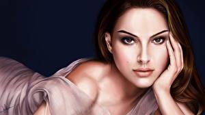 Фотографии Natalie Portman Рисованные Взгляд Лицо Шатенка Девушки