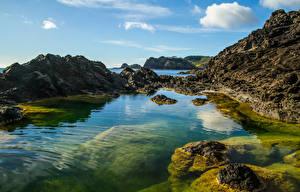 Картинки Новая Зеландия Берег Небо Утес Whangarei Природа