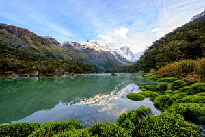 Фотография Новая Зеландия Гора Озеро Трава Lake Mackenzie Природа