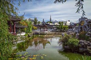 Картинки Новая Зеландия Парки Пруд Пагоды Chinese Garden Dunedin Природа