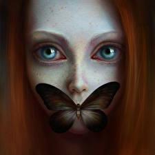 Картинка Рисованные Бабочки Глаза Рыжая Смотрят девушка