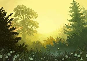 Фотография Рисованные Колокольчики - Цветы Трава Деревья Ель Природа