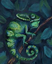 Картинка Рисованные Ящерица Хамелеон Животные