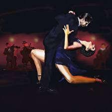 Картинка Рисованные Мужчины Танцуют Двое девушка