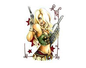 Фото Рисованные Пистолеты Блондинка Белый фон Фэнтези Девушки