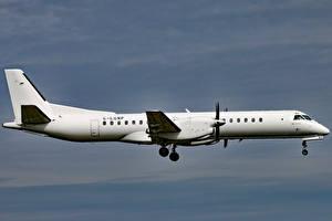 Обои Самолеты Пассажирские Самолеты Летящий Сбоку G-LGNP Saab 2000 Loganair