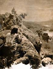 Фотографии Картина Мужчины Мамонты Зденек Буриан Черно белое Охота Hunting the mammoth
