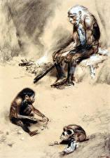 Картинка Живопись Зденек Буриан Старый мужчина Neanderthal