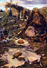 Фото Живопись Зденек Буриан Старый мужчина Studio of a prehistoric artist