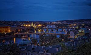 Фотография Прага Чехия Здания Реки Мосты Карлов мост Ночь город