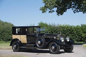 Фотографии Роллс ройс Винтаж Черный Металлик 1926 Phantom I 40-50 HP Brougham de Ville by Charles Clark Автомобили