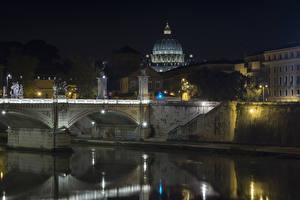 Фотография Рим Италия Здания Речка Мосты Ночные