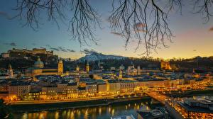 Фото Зальцбург Австрия Здания Мосты Вечер Улица