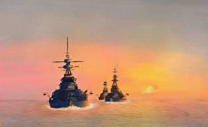 Картинки Корабль Рисованные Battlecruisers in the Channel военные
