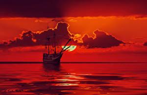 Фото Корабль Парусные Море Небо Облака Красный Солнце 3D Графика