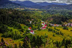 Фото Словения Городки Дома Пейзаж Леса Луга Холмы Природа