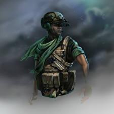 Картинки Солдаты Рисованные Военная каска Delta operator Армия