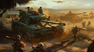 Обои Солдаты Рисованные САУ Convoy Армия