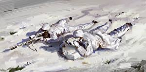 Фотография Солдаты Рисованные Снайперская винтовка Двое Снайперы Снег Армия