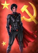 Обои Soviet Superwoman Герои комиксов Серп и молот Фэнтези Девушки