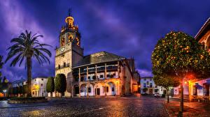 Фотография Испания Дома Городская площадь Пальмы Деревья Уличные фонари Ночные Улица HDRI Ronda Andalusia Города