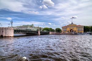 Картинка Санкт-Петербург Россия Дома Река Мост город