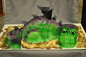 Фото Сладости Торты Драконы Дизайн Dragon Cake Пища