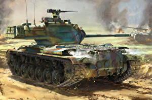 Фото Танки Рисованные Американские M47 Patton, AMX-13 Армия