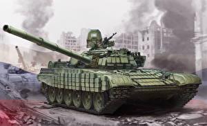 Картинки Танки Рисованные Российские T-72B1 Армия