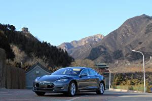 Обои Tesla Motors Серый Металлик 2014-16 Model S P85D Worldwide машина