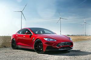 Фото Tesla Motors Красные Металлик 2015 Larte Design Model S Elizabeta