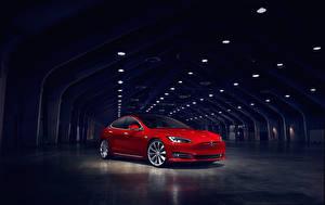 Картинки Тесла моторс Красные Металлик Туннель 2016 Model S P90D машина