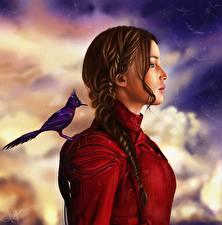 Фотографии Голодные игры Дженнифер Лоуренс Птицы Шатенка Косички Mockingjay Part 2, Katniss Everdeen Знаменитости Девушки