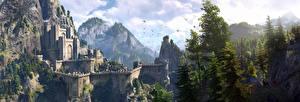Фотографии Ведьмак 3: Дикая Охота Замок Крепость Kaer Morhen Игры Фэнтези