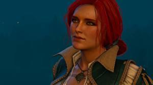 Картинки The Witcher 3: Wild Hunt Рыжая Лицо Triss Merigold Девушки 3D_Графика