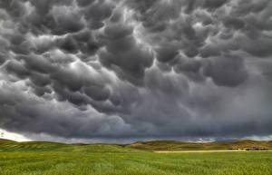 Фото Тучи Облака Холмы Природа