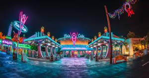 Фотографии США Диснейленд Парки Дома Калифорния Анахайм Дизайн HDR Ночные